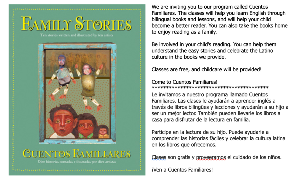 Invitation for Cuentos Familiares--Spring 2021