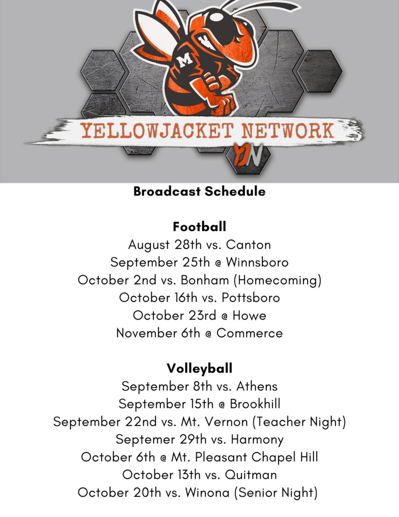 Yellowjacket Network Broadcast Schedule